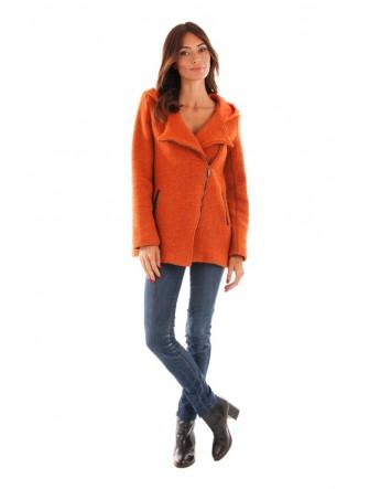 Manteau à capuche en laine bouillie - orange
