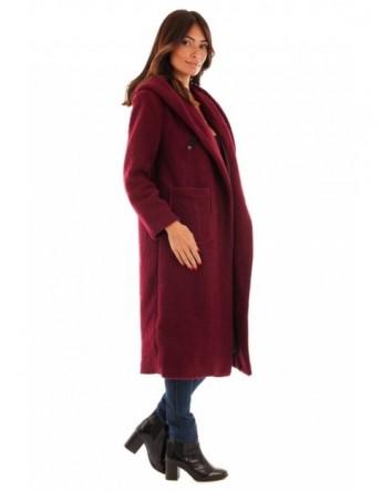 Manteau long fermeture boutonnière - bordeaux