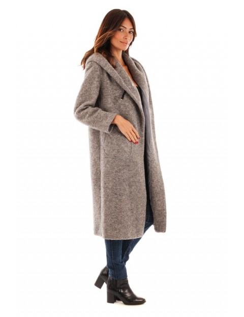 Manteau long fermeture boutonnière - gris clair
