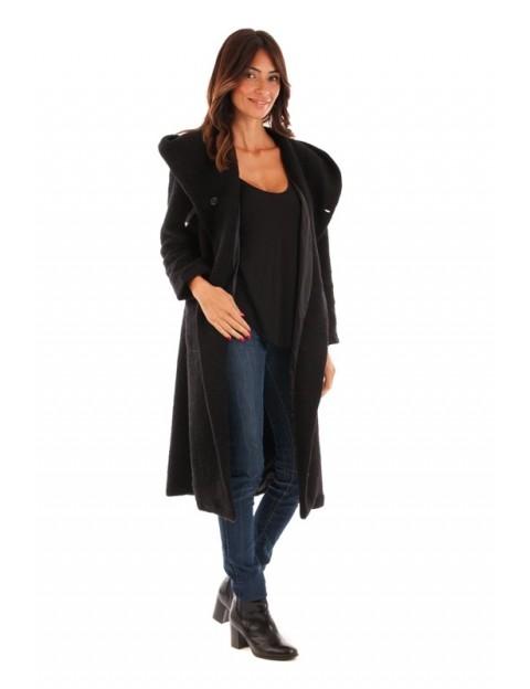 Manteau long fermeture boutonnière - noir