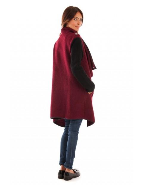Manteau col revers - noir/bordeaux