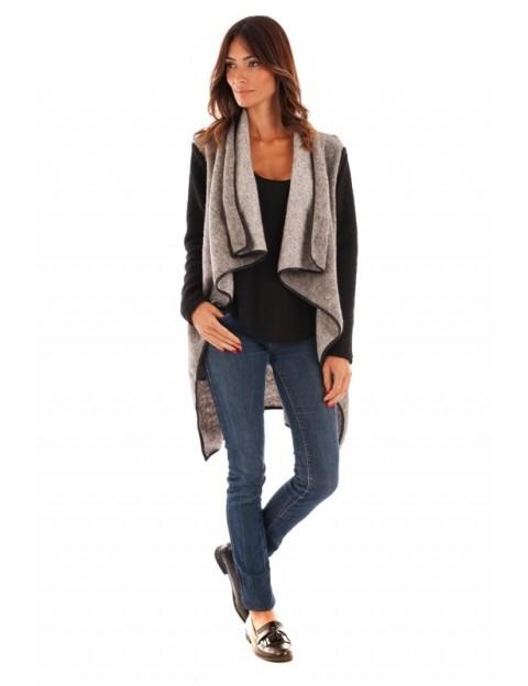 Manteau col revers - gris clair/noir