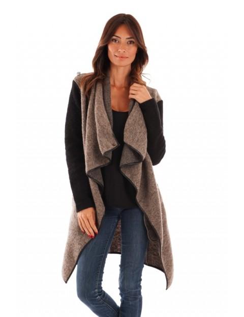 Manteau col revers - taupe/noir