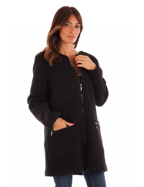 Manteau coupe droite - noir