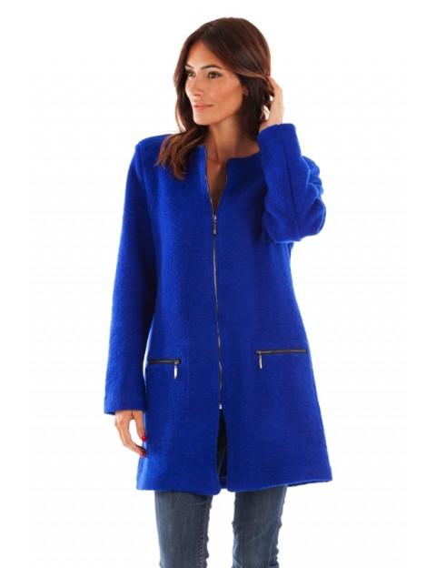 Manteau coupe droite - bleu royal