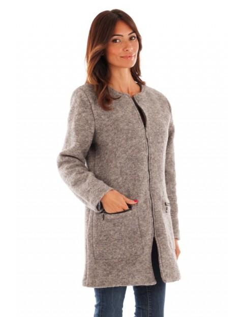 Manteau coupe droite - gris clair