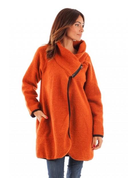 Manteau fermeture à éclair sur le col Orange