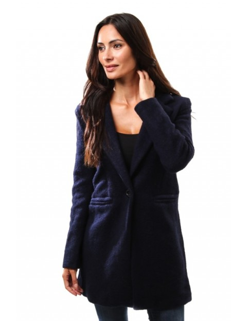 Manteau droit en laine - marine
