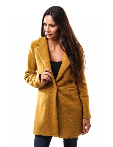Manteau droit en laine - safran