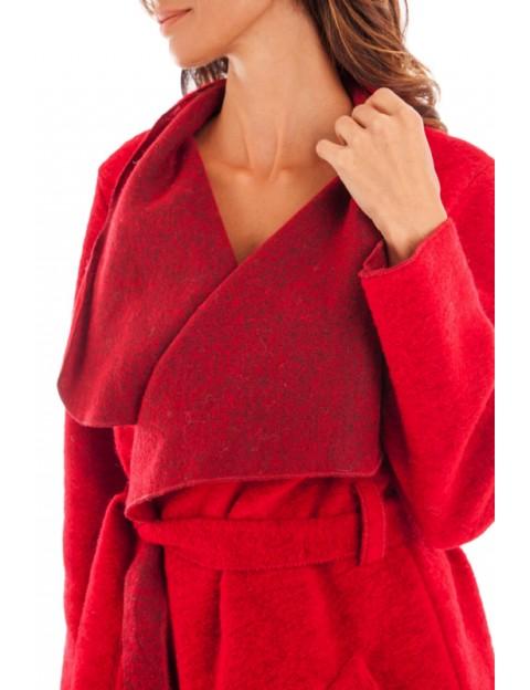 Manteau à col tombant Rouge