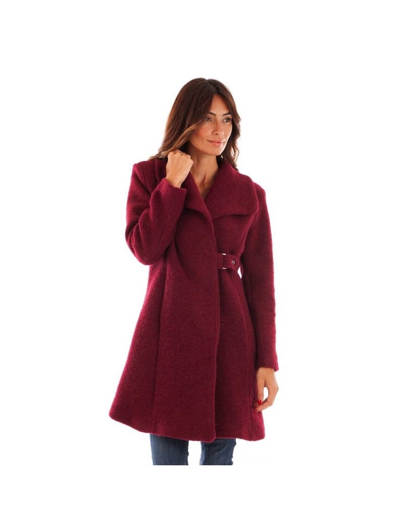Manteau à col châle - bordeaux