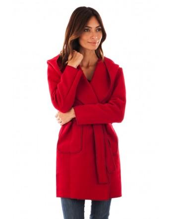 Manteau-Veste à capuche-BORDEAUX