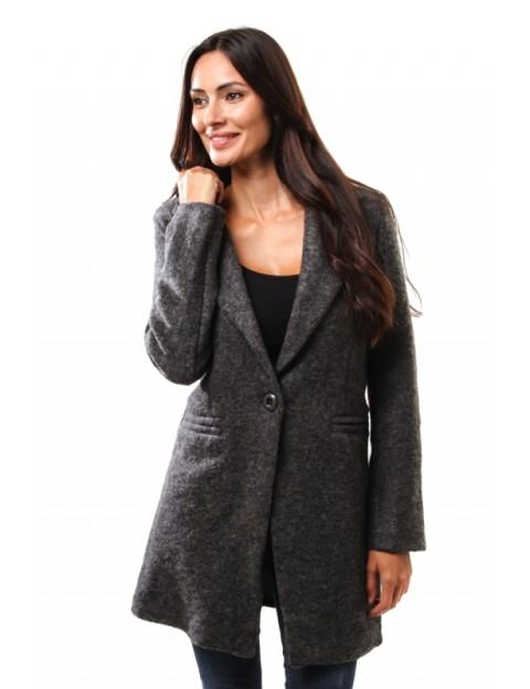 Manteau droit en laine - anthracite