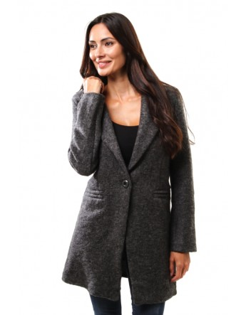 Manteau droit en laine - anthracite