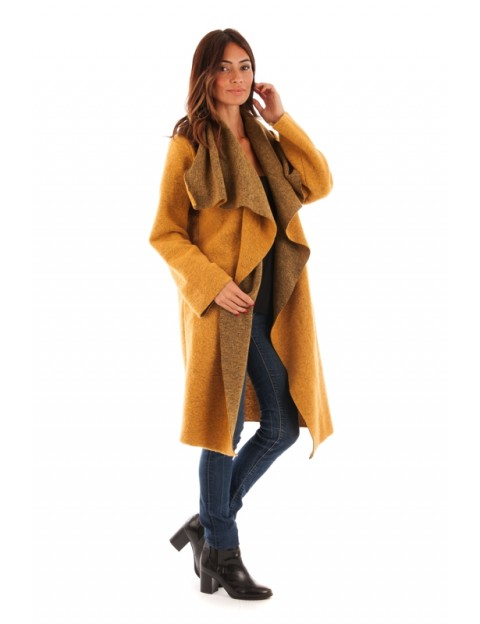 Manteau col revers - safran